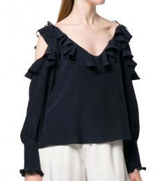 Navy Blue Cold Shoulder Silk Top