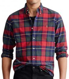 Ralph Lauren Rustic Red Classic-Fit Plaid Oxford Shirt