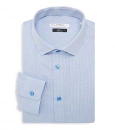 Versace Collection Light Blue Trend Fit Textured Dress Shirt