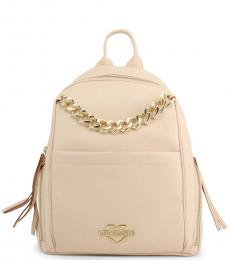 Love Moschino Beige Chain Large Backpack