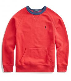 Ralph Lauren Boys Sunrise Red Twill Terry Sweatshirt