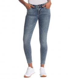 Blue Crystal Ombre Ankle Skinny Jeans