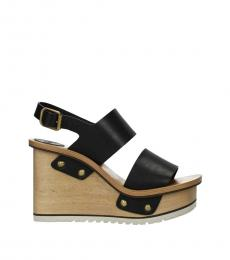 Chloe Black Leather Wedges