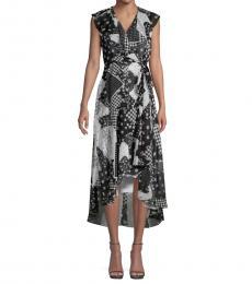 Black White Printed Chiffon Dress