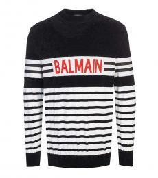 Balmain Black Striped Logo Sweater
