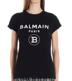 Balmain Black Glittered Logo T-Shirt