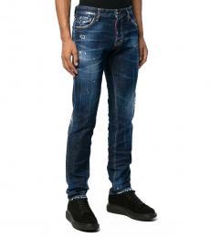 Dsquared2 Dark Blue Cotton Blend Slim Jeans