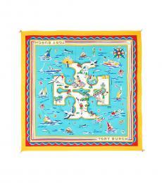 Tory Burch New Ivory-Blue Island Silk Square Scarf