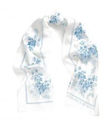 Cream-Blue Lira Floral Scarf
