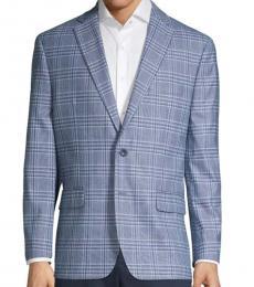Michael Kors Blue Classic-Fit Plaid Sportcoat