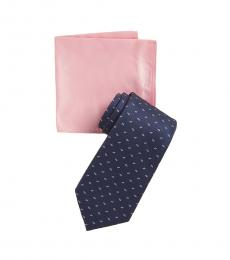 Michael Kors Navy-Pink Triangle Neat Tie & Pocket Square Set
