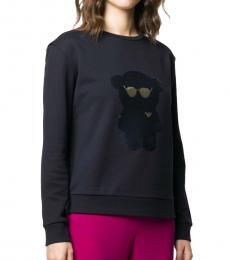 Navy Blue Cotton Sequined-Bear Sweatshirt