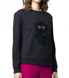 Emporio Armani Navy Blue Cotton Sequined-Bear Sweatshirt