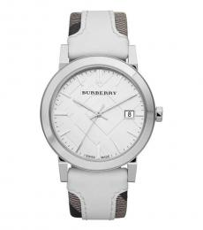 Burberry White Sun-Ray Dial Watch