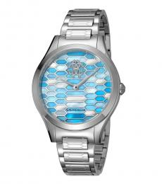 Silver-Blue Scaly Watch