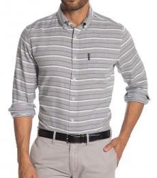 Ben Sherman Light Grey Stripe Classic Fit Shirt