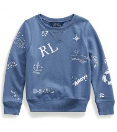 Ralph Lauren Little Girls Washed Capri Blue Graphic Pullover