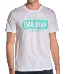 White Triple Logo Print T-Shirt