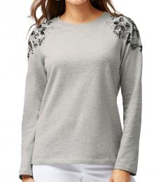 Tommy Bahama Light Grey Sea Glass Embroidered Top