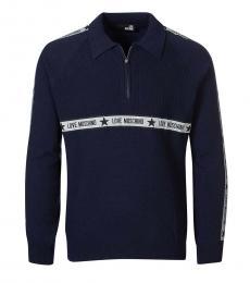 Love Moschino Dark Blue Quarter Zip Logo Sweater