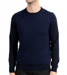 Navy Blue Geometric Print Sweater