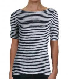 Ralph Lauren Navy Blue Striped Boat Neck T-Shirt