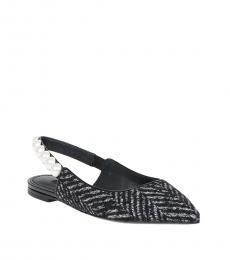 Dolce & Gabbana Black Tweed Slingback Ballerinas