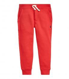 Little Boys Red Cotton-Blend-Fleece Joggers