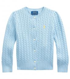 Ralph Lauren Little Girls Powder Blue Mini-Cable Cardigan