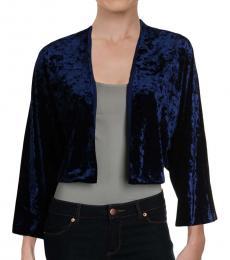 Ralph Lauren Blue Velvet Metallic Shrug Top
