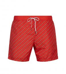 Karl Lagerfeld Red Striped Swim Trunks