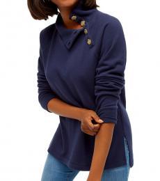 J.Crew Navy Wide Button-Collar Tunic Sweatshirt