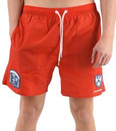 Diesel Orange Logo Print Swim Shorts