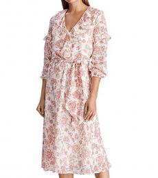 Ralph Lauren Pale Cream V Neck Ruffled Floral Mini Dress