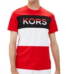 Michael Kors Red Logo Blocked T-Shirt