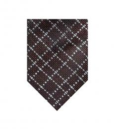 Tom Ford Brown Geometric Pattern Tie