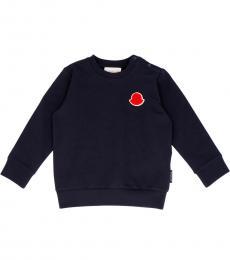 Moncler Baby Girls Navy Velvet Logo Sweatshirt