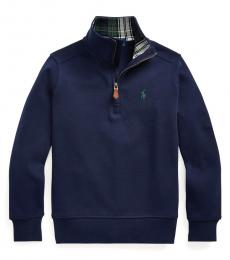 Ralph Lauren Little Boys Navy Quarter-Zip Pullover