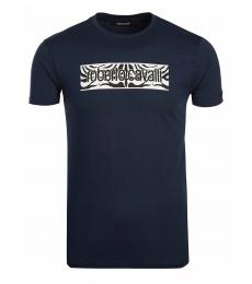 Roberto Cavalli Navy Blue Graphic Logo T-Shirt