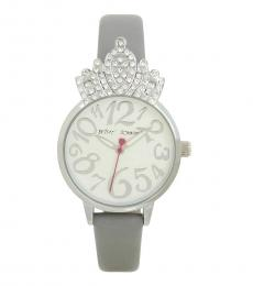 Betsey Johnson Grey Crystal Crown Princess Watch