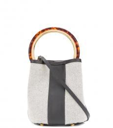 Grey Pannier Stripe Small Bucket Bag