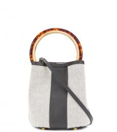 Marni Grey Pannier Stripe Small Bucket Bag