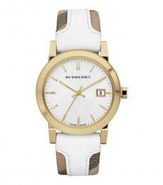 Burberry White Leather Fabric Watch