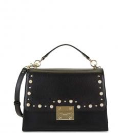 Black Embellished Medium Shoulder Bag