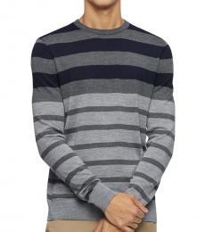 Calvin Klein Dark Grey Striped Wool-Blend Sweater