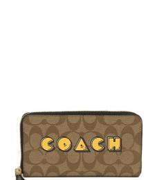 Coach Khaki Pac Man Zip Around Wallet