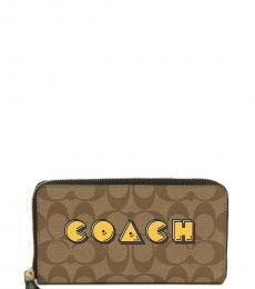 Coach Khaki Pac Man Zip Around Wallet