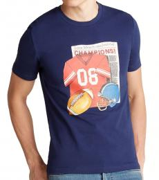 Electric Blue Football Graphic T-Shirt