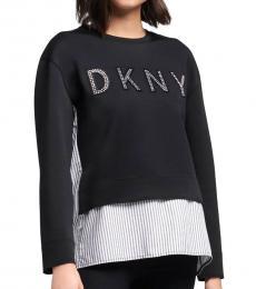 DKNY Black Logo Shirttail Sweatshirt