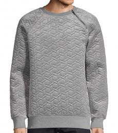 Karl Lagerfeld Grey Quilted Raglan-Sleeve Sweatshirt
